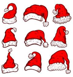 set of santa claus hats christmas theme design vector image