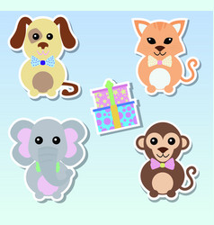 set stickers animals dog elephant cat monkey vector image
