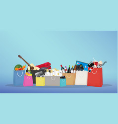shopping bags with many item inside vector image