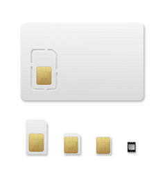 Sim card types realistic set vector