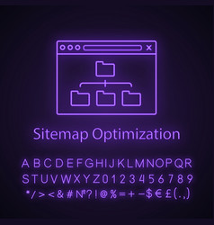 Sitemap optimization neon light icon vector