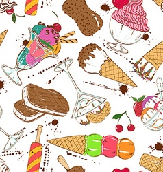 Sketch seamless pattern of colorful ice cream vector image