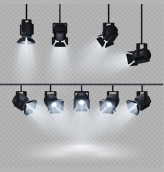 Spotlights with white light collection isolated on vector