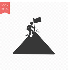 stick figure a man climbs a mountain peak with a vector image