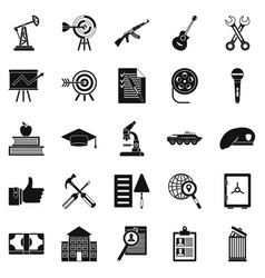 Successful career icons set simple style vector