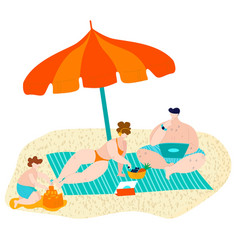 summer beach with family relax on sand under sun vector image