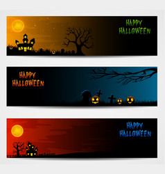 Three halloween banners with castle and pumpkin vector