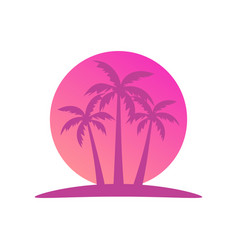 tropical landscape with palm trees on a vector image