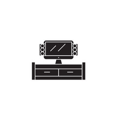 tv cabinet black concept icon tv cabinet vector image