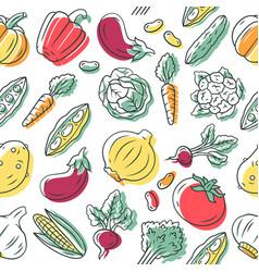 vegetables seamless pattern veggies background vector image