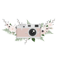Vintage retro photo camera in flowers leaves vector