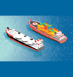 visometric cargo ship container and lng carrier vector image