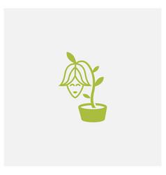 Woman as flower plant happy logo design line vector