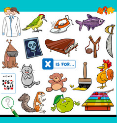 x is for educational game for children vector image