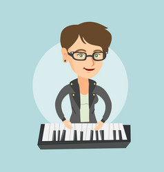 young caucasian woman playing the piano vector image