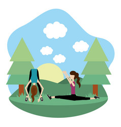 young women exercising cartoon vector image