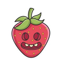 Zombie strawberry fruit icon cartoon vector