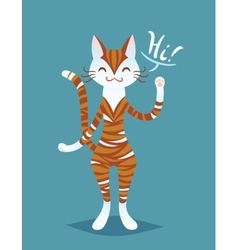 Cute smiling ginger striped cat lady say Hi vector image vector image