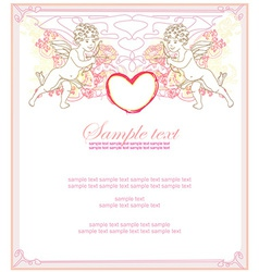 happy valentines day card with cupid vector image vector image