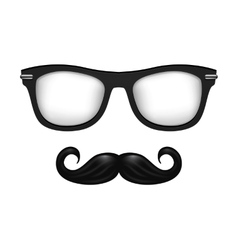 Realistic glasses and mustache in black vector image
