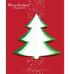 Simple christmas tree made from pieces of paper vector image