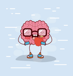 brain cartoon with glasses and eating apple in vector image