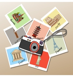 Camera with photographs of global landmarks vector