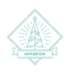 Linear badge with Christmas tree vector image vector image
