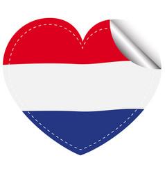 netherlands flag in heart shape vector image vector image