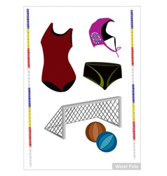 Set of Water Polo Equipment on White Background vector image vector image