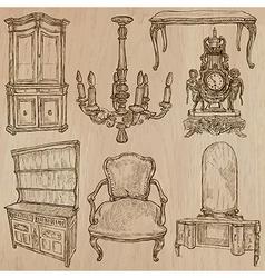 Furniture - sketches line art vector image