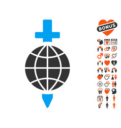 global safety icon with valentine bonus vector image