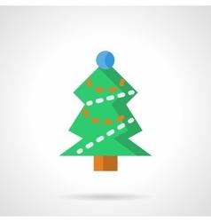 Green Xmas tree flat color icon vector image vector image