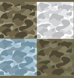military soldier camouflage seamless patterns set vector image vector image