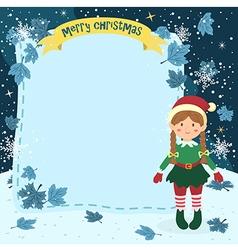 Notes Christmas Elf Braid Girl vector image