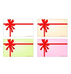 Set of New Year Card with Red Ribbon vector image vector image