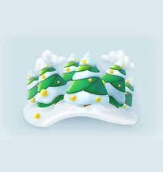 winter forest christmas icon vector image