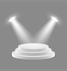 3d pedestal with spotlights isolated object vector image