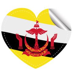 brunei flag on heart shape sticker vector image vector image