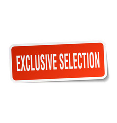 Exclusive selection square sticker on white vector