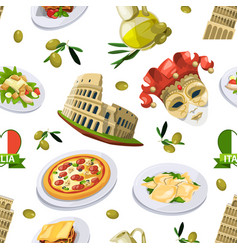 food of italy cuisine of different vector image