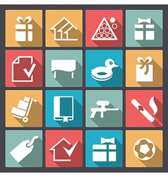 games and entertainment icons in flat design vector image vector image
