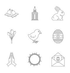 Holy easter icon set outline style vector
