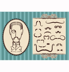 man portrait and mustaches vector image vector image