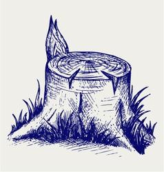 Old tree stump vector image