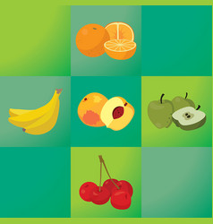 oranges bananas peaches apples cherries - vector image vector image