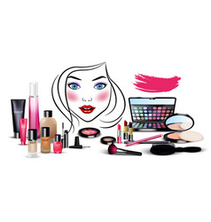 set of cosmetics with beautiful woman face vector image