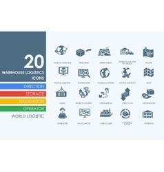 Set of warehouse logistics icons vector image