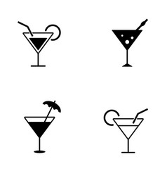 several style of cocktail icons vector image vector image