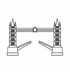 Tower bridge icon outline style vector image vector image